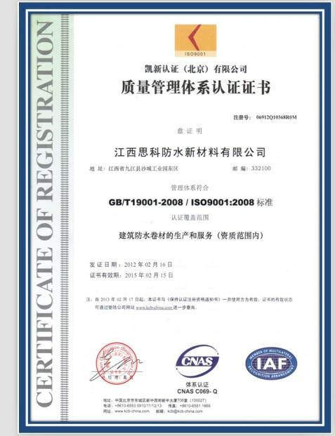 ISO9001:2008质量管理体系认证(中文版)