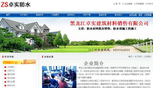 黑龙江卓实建筑材料销售有限公司网站截图