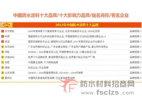 点击查看2013中国防水涂料十大品牌揭晓,东方雨虹与安臣入榜详细说明