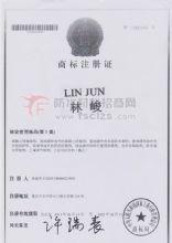 LIN JUN 林峻商标注册证书