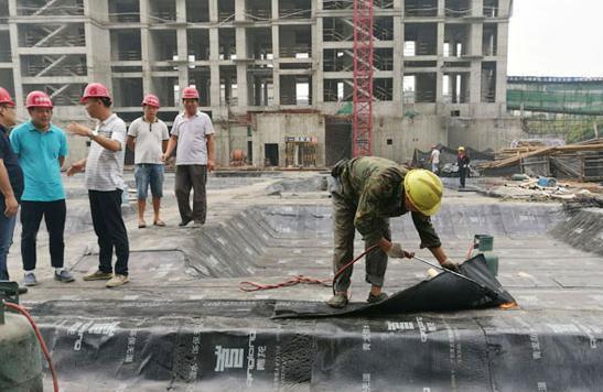 青龙董事长宋敦清考察河南防水卷材施工工地