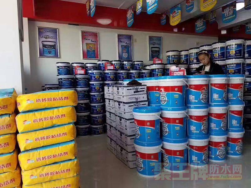 含山百事丽防水材料店店内,百事丽防水材料铺满整个店