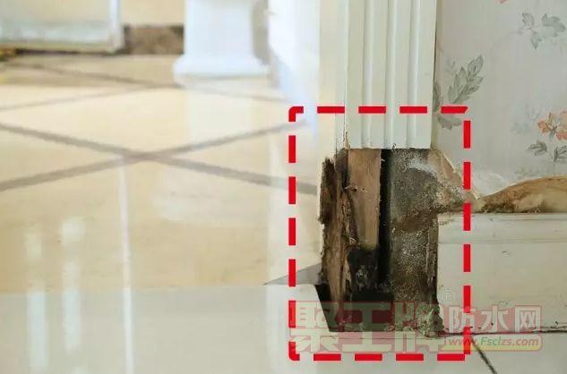 门套踢脚线和墙面严重受潮、腐烂