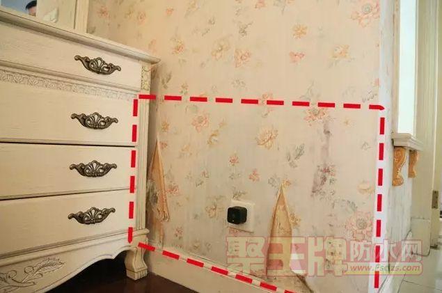 卫生间临近墙面墙纸受潮、卷边,从破损的地方可以看出,墙面也已经发霉
